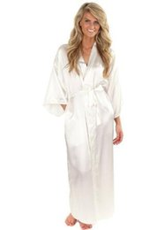 wholesale kimonos Promo Codes - Women Silk Satin Long Wedding Bride Bridesmaid Robe Kimono Robe Feminino Bath Large Size XXXL Peignoir Femme Sexy Bathrobe