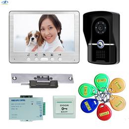 türklingel gegensprechanlage Rabatt 7 Zoll Wireless Video Türklingel Video Intercom Elektroschloss RFID Access Türklingel Home Security Wasserdichte Intercom System