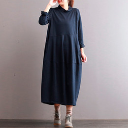 Wholesale Basic Cotton Long Dress - Mferlier Autumn Winter Dress Women Cotton Basic Dress Vestidos Long Thickening Solid Color Turtleneck Casual Loose Robe