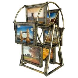 Canada Cadre photo rotatif de grande roue, 12 expositions de photos pour des photographies de 3.5x5in, cadre rétro vintage d'image, plusieurs cadres d'image avec le verre Offre