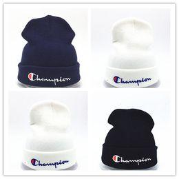 a2ff1a98b26 Wholesale beanies Knitted Hat Designer Champion Winter Warm Thick Beanie  Fedora gorro Bonnet Skull Hats for Men women Crochet Skiing Cap