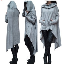 Wholesale Elegant Mature Woman - Long Section Women's Pullovers Sweater Full Sleeve Loose Gray Women Irregular Plus Size Mature Elegant Sweaters