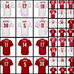 Wholesale baseball benches - 5 Johnny Bench 11 19 Joey Votto 14 Pete Rose 17 Chris Sabo Jersey Men's High quality stitched Baseball Jerseys