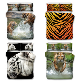 Wholesale Full Queen Bedding Sets - 3D Tiger and Lion Pattern Bedding Set Twin Full Queen King Size Pillow Case Quilt Cover Duvet Cover
