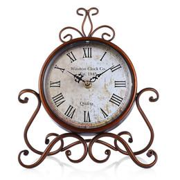 Wholesale Metal Craft Table - European Style Retro Wrought Iron Craft Table Clock Home Decoration Bronze Gold Mute Table Clock Handicraft Vintage Alarm Clock