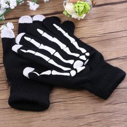 ossa del telefono Sconti New Winter Warm Full Finger Unisex Uomo Donna Ghost Bone Knit Skeleton Smart Phone Screen Glove 2 stili