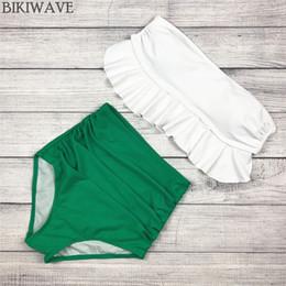 maillot de bain à volants Promotion 2018 maillot de bain taille haute Bikini Set Vintage Rétro Sexy maillot de bain push up maillot de bain maillot de bain maillot de bain volant vert