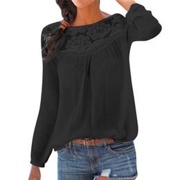 04e8ee3e3ad701 Women Chiffon Blouse 2018 Fashion Casual Long Sleeve Women Shirts Lace  Patchwork Blouses Tunic Tops Blusas Mujer Plus Size #40