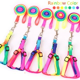 regenbogenleinen Rabatt Haustier Hundehalsband Harness Leine Weiche Walking Harness Führen Bunte und Durable Rainbow Traction Rope1.0 * 120CM Pet Supplies
