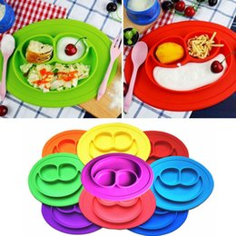 Wholesale Candy Dishes Wholesale - Baby Silicone Meal Plate Mat Suction Stable Feeding Bowl Smiling Face Toddler Infant Kids Candy Color Dishes AAA366