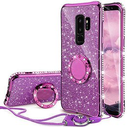 Wholesale galaxy girl - For Samsung Galaxy S9+ Case Bling Glitter Diamond Rhinestone Finger Ring Stand Back Cover Case For Samsung Galaxy S9 Plus Case for Girl
