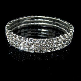 Wholesale Prom Bracelets - 2018 New Fashion 3 Row Rhinestone Bangle Wedding Bracelets Bridal Jewelry Bracelet for Wedding Party Evening Prom Cheap In Stock