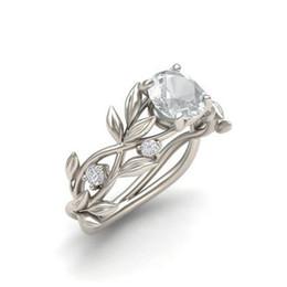 Свадебные украшения сапфир онлайн-Цветок ювелирные изделия мода Циркон ювелирные изделия принцесса обручальное кольцо позолоченный сапфир свадьба драгоценный камень кольцо для любителей