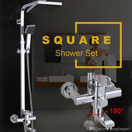 Wholesale bath faucet chrome - Solid Brass Rotatable Mixer Chrome Polish Square Rainfall Shower Faucets Set Water Taps With Handshower For Bathroom Bath Shower
