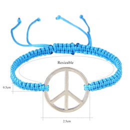 Wholesale Holiday Symbols - European and American braided hand chain peace symbol mark han version of the combination hand rope jewelry Charm Bracelets