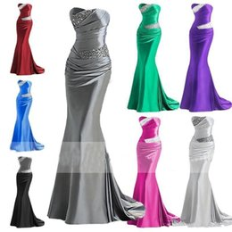 Wholesale Grey Mermaid Prom Dresses - 2018 Silver Grey Burgundy Mermaid Bridesmaid Dresses Beaded Cheap Long Maid of Honor Dress Evening Prom Gowns Lace Up Back