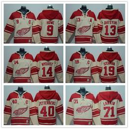 Wholesale Detroit Hoodie - 2017~18 Mens AD Hoodie Detroit Red Wings Hoody Jersey 71 Larkin 40 Zetterberg 13 Datsyuk 14 Nyquist 9 Howe 19 Yzerman Beige Red Ice Hockey
