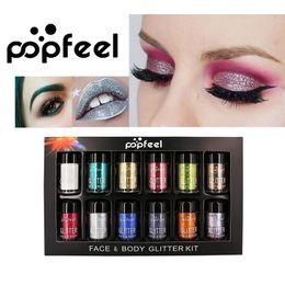 Wholesale eyeshadow loose pigments - Popfeel 12pcs Metallic Glitter Eyeshadow Loose Powder Makeup Shimmer Colorful Pigment Face Highlighter Make Up Glitter Powder 1203045