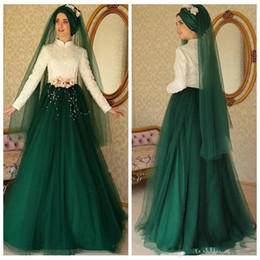 Wholesale Islamic Art Pictures - 2018 Muslim Turkish Islamic Tulle Skirt High Neck Long Sleeves Evening Dresses Lace Pearls with Hand Made Floor Flower Length Prom Gowns