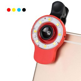 Wholesale Angle Eyes Led - 9 in 1 Multifunctional Selfie Mini LED Retina Flash with Universal Clip on Fisheye Fish eye Wide Angle Macro Mobile Phone Lens