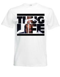 Faixa branca dos homens camisetas on-line-THUG LIFE Sign 2Pac Branco Herren T-shirt Dos Homens Banda de Rock Camiseta 2018 New Mens T Camisas