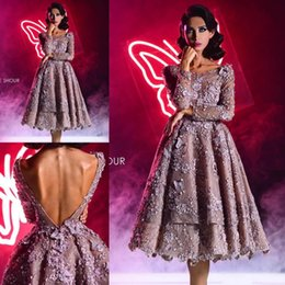 Wholesale Vintage Butterfly Picture - Long Sleeve Backless Prom Dresses Tulle Flower Applique Butterfly Short Lace Party Dress Knee Length A Line Evening Gowns