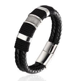 Mens En Cuir Véritable Bracelet En Acier Inoxydable Boucle Magnétique Noir Poignet Manchette Bracelet De Mode Bijoux Parti Favor ? partir de fabricateur