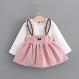 Wholesale Wholesale Clothing Long Skirts Dresses - Baby Kids Clothing Girl's Dresses Children Korean sweetheart girl long ear strap baby girl long sleeve skirt 1839