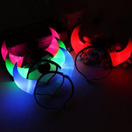 2019 corna del diavolo di natale Christmas LED Devil Horn Light Up Fascia Halloween Party Cosplay Prop Headwear Light-emitting Hair Clasp Regalo di Capodanno corna del diavolo di natale economici