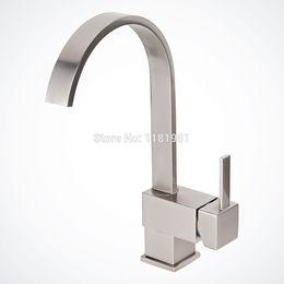 Wholesale Brushed Nickel Vessel Sinks - Brushed Nickel Kitchen Bathroom Vessel Sink Faucet, Single-handle Free Shipping 8017