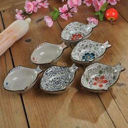 Pintando platos de cerámica online-Plato de estilo japonés al por mayor plato de pescado pequeño vintage pintura de cerámica weidie dish salsa de soja