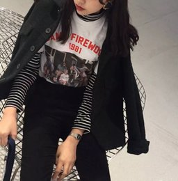 Wholesale Women Fall Shirts - Fall 2018 fashion female striped turtleneck backing leisure Korean version of the new code character long sleeved loose T-shirt 16881 WR
