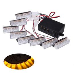 Wholesale Universal Car Grill - HEHEMM 8 X 3 24 LEDs Car Emergency Hazard Warning Grill Strobe Light Amber White Red Green Blue Mix Color Optional