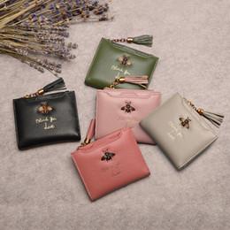 2019 denim leinwand münze geldbörse Frauen Brieftasche Bee Designer Echtes Leder Luxus Mode 100% Leder Geldbörse Dame Kreditkarteninhaber Weiblichen Brieftasche mit quaste reißverschluss