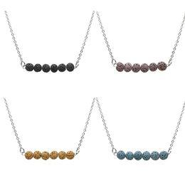 Wholesale Fashion Bead Necklaces - Fashion 4Colors Natural Lava Stone Necklace For Women Fashion Beads Essential Oil Diffuser Necklace For Women Jewelry
