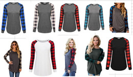 Wholesale Hot T Shirts For Women - Women Stitching Plaid T-shirts Tops With The Bottom Radian Design Pullover Sweater Undershirt For Girls Ladies Multicolor 8size Hot sell DHL