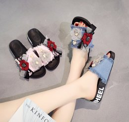 Wholesale ms word - Ms. sandals and slippers new summer shoes denim indoor and outdoor slippers word leisure flat flat with beach shoes