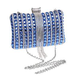 Bolso clutch dorado rojo online-Bolsos de fiesta para mujer Glass Diamond Lady Wedding Evening Bag Clutch Bag High Grade Clutches Purse Blue Gold Red