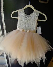 Wholesale Knee Length White Graduation Dresses - 2018 Cute Flower Girl Dresses A Line Jewel Cap Sleeve Knee Length Girls Pageant Dresses With Lace Tiered Tulle For Wedding Party