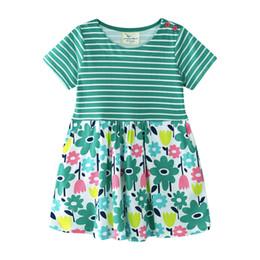 Qualité Summer Girls Floral Dresses Stripes Vêtements enfants Vente en gros Manches courtes 2019 Vert Coton Exporté Pas Cher 18 M-6 T ? partir de fabricateur