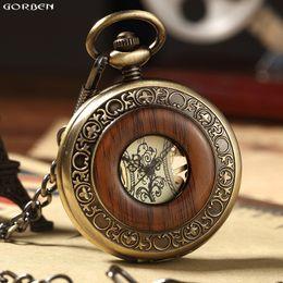 2019 деревянные часы механические Ретро деревянный круг скелет карманные часы Мужчины Женщины унисекс механические ручной обмотки старинные римские цифры ожерелье стимпанк часы дешево деревянные часы механические