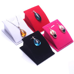 Wholesale Cardboard Christmas - Necklace Earrings Stand Display Full Velvet Jewelry Showing Stand Storage Different Colors Show Shelf Wholesale Free Shipping 0727WH