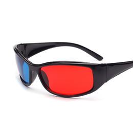 Dvd de juegos de video online-3D Plastic Glasses Black Frame Rojo Azul 3D Visoin Glass para Dimensional Anaglyph Movie Game DVD Video TV