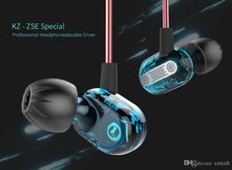 2019 pilote de câble KZ ZSE Spécial Dynamique Double Pilote Écouteur Dans L'oreille Gaming Headset Moniteurs Audio Casque HiFi Musique Sport Bleu Écouteurs pilote de câble pas cher