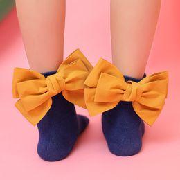 Wholesale Cute Baby Girl Socks - 2018 Fashion Infants Baby Girls Kids Children Cute 3D Design Heel Bows Princess leg Warmers Solid Cotton Girl Ankle Socks 1-8years