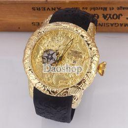Wholesale Dragon Big - 2018 INVICTA mens Big dial watches luxury gold dragon design quartz men's wristwatches brand waterproof calendar rubber band male clock gift