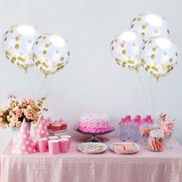 Party punkte für ballons online-Latex-freie Ballon-Gold Konfetti-Ballons 12 Zoll Party Dekoration Ballons mit goldenen Papierpunkten Partydekorationen Hochzeit