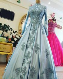 2018 musulmanes de manga larga vestidos formales de noche desgaste cuello alto apliques de la vendimia perlas de luz azul satinado personalizado mujeres fiesta baile vestido desde fabricantes