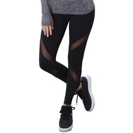 Wholesale Wholesale Black Leggings Designs - CROSS1946 Sexy Women Leggings Insert Mesh Design Trousers Pants Big Size Black Capris Sportswear New Fitness Leggings S-XL