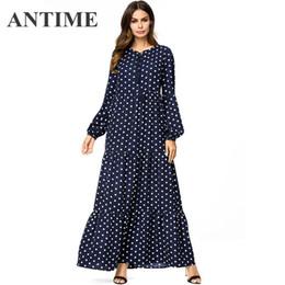 ANTIME Tassel Tie Polka Dot Long A-line Swing Dresses Women Autumn Winter  Plus Size Long Sleeve Casual O-Neck Maxi Dress 84aade307b1a